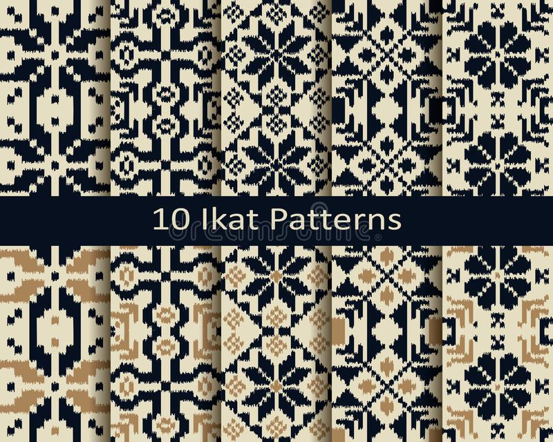 Placez de dix modèles géométriques d'ikat sans couture de vecteur conception pour le textile, copie, intérieur illustration stock