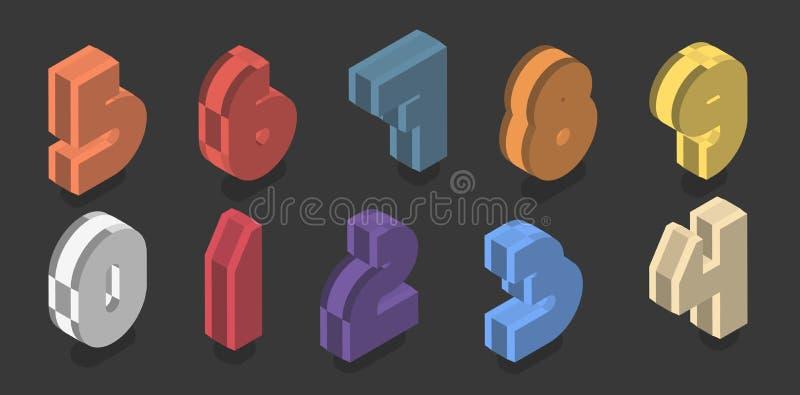 Placez de dix nombres isométriques de zéro à neuf Conception en plastique de nombre du vecteur 3d illustration de vecteur