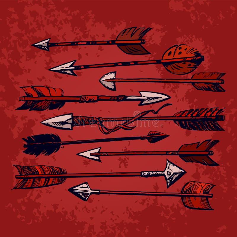 Placez de 9 flèches indiennes ethniques de cru d'isolement sur le vieux fond minable rouge Illustration tirée par la main de vect illustration libre de droits