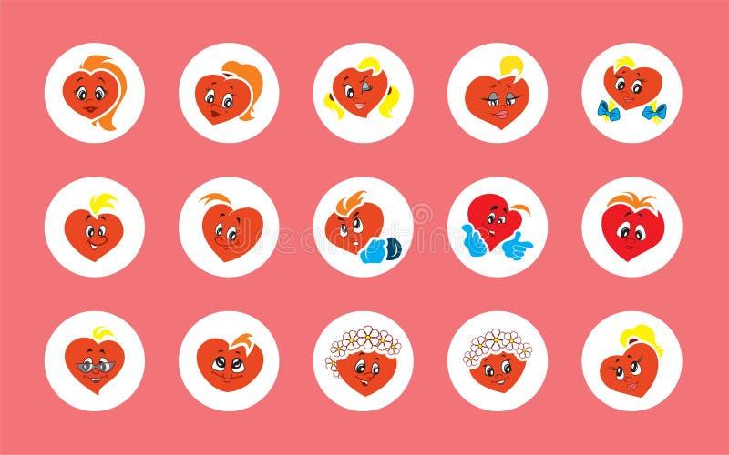 Placez de 15 garçons et filles de coeurs de caractères de l'animation des enfants d'illustrations de vecteur illustration stock