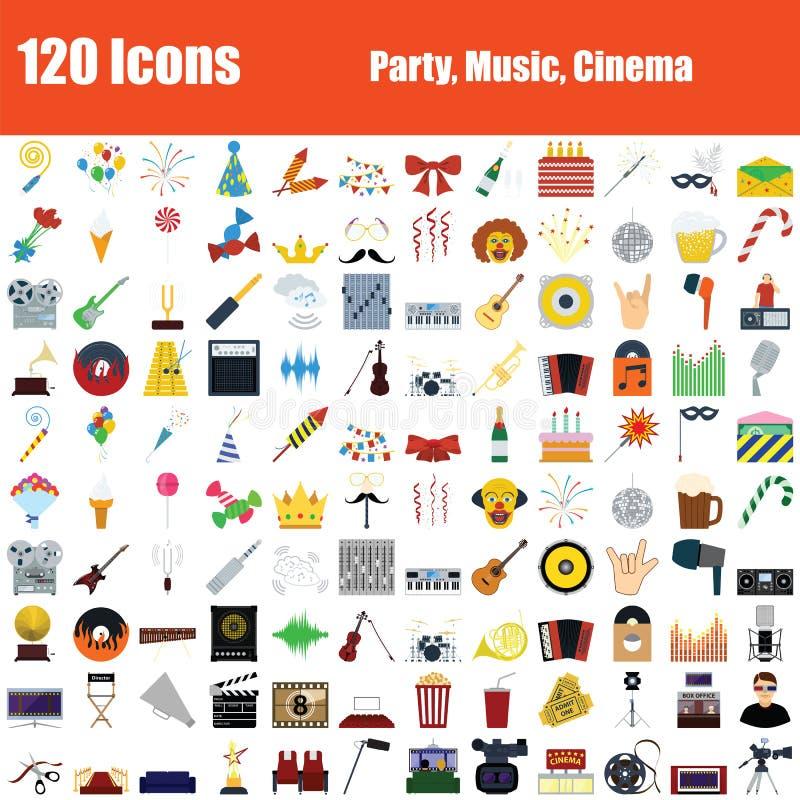 Placez de 120 icônes font la fête, musique, cinéma illustration stock