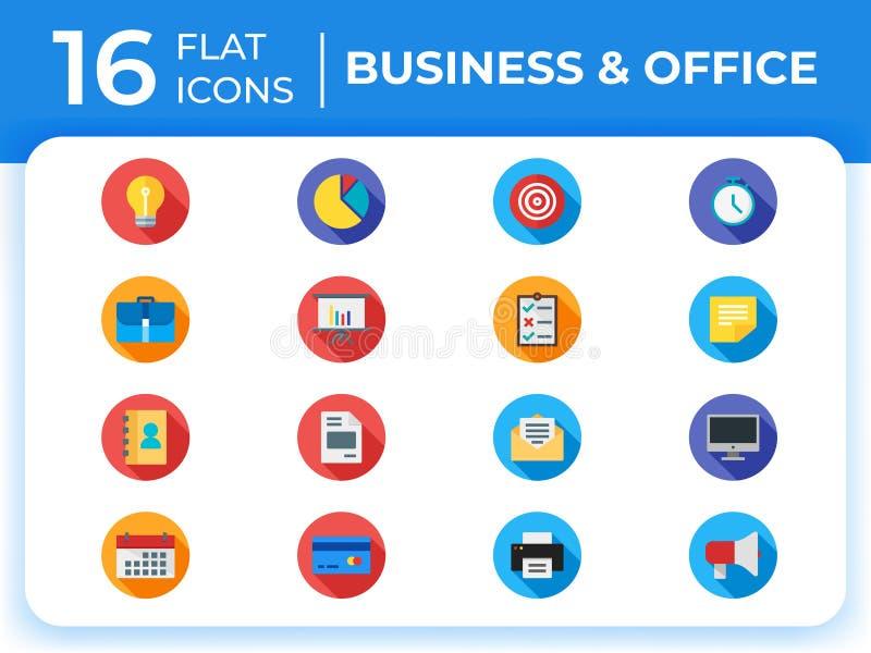 Placez de 16 icônes plates modernes d'affaires, icônes plates d'affaires illustration libre de droits