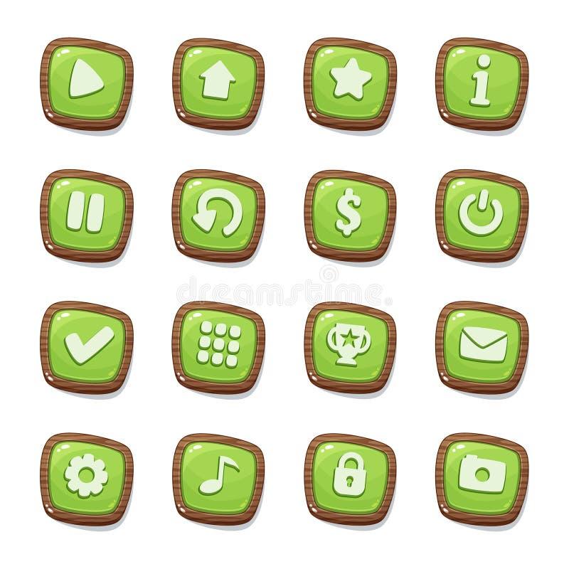 Placez de 16 icônes vertes de gelée dans les cadres en bois d'isolement sur le fond blanc pour l'interface utilisateurs de jeu Te illustration stock