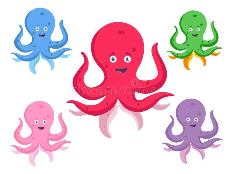 Placez de Jelly Cartoon Fishes Illustration mignonne illustration de vecteur