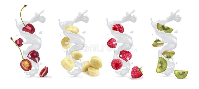 Placez de l'éclaboussure ou du yaourt de lait avec des fruits et des baies illustration de vecteur