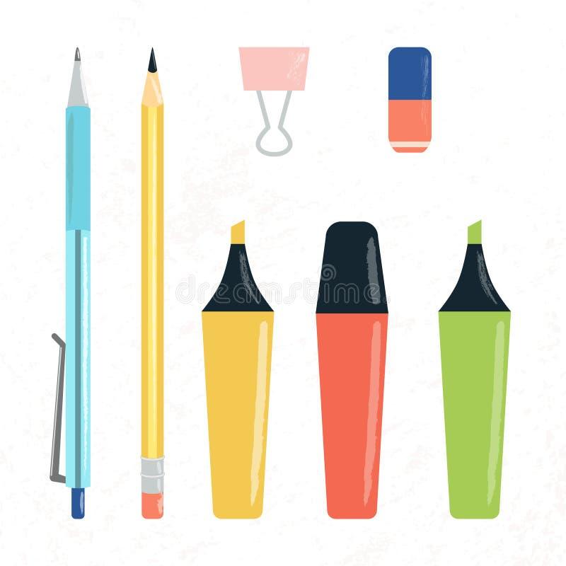 Placez de l'école, du bureau et des approvisionnements d'étude illustration libre de droits