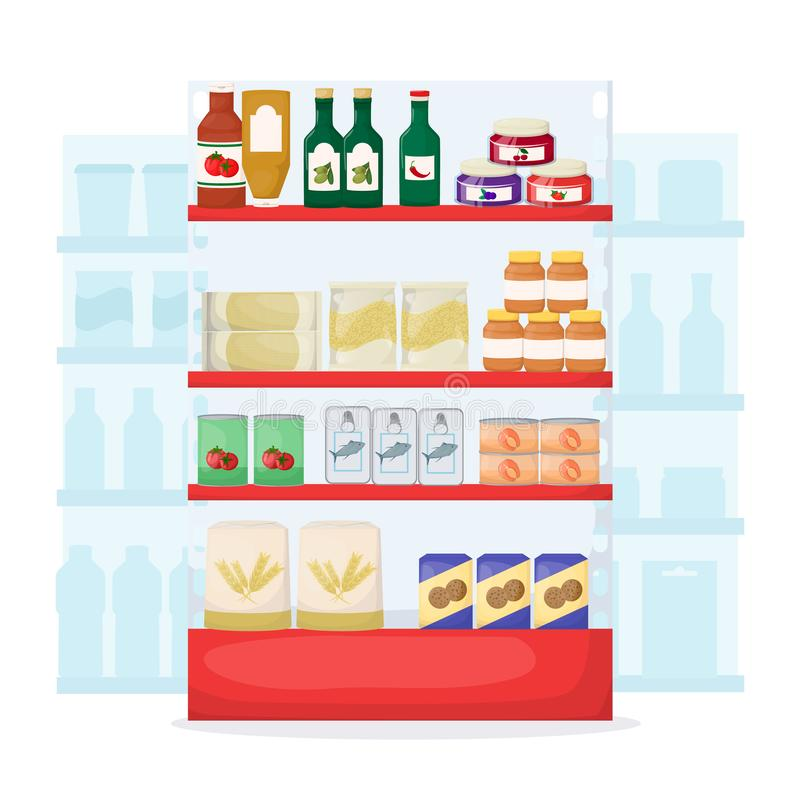 Placez de l'épicerie Produit sur des étagères de supermarché Intérieur de magasin de nourriture Confiture, pétrole, pâtes, biscui illustration libre de droits