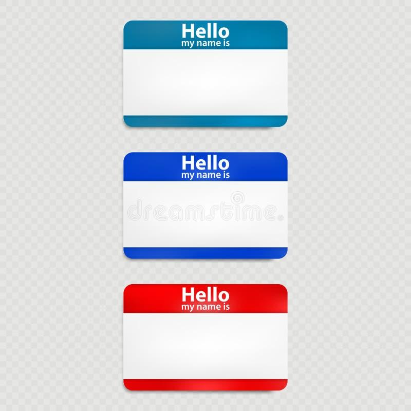 Placez de l'étiquette rouge et bleue de nom de bonjour d'isolement ENV 10 illustration stock
