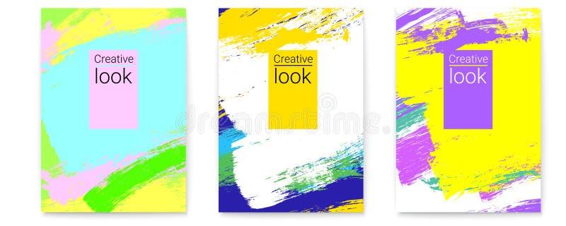 Placez de l'affiche de vecteurs Fond géométrique élégant avec de grandes courses colorées multi de brosse Art moderne vif cr?ateu illustration stock