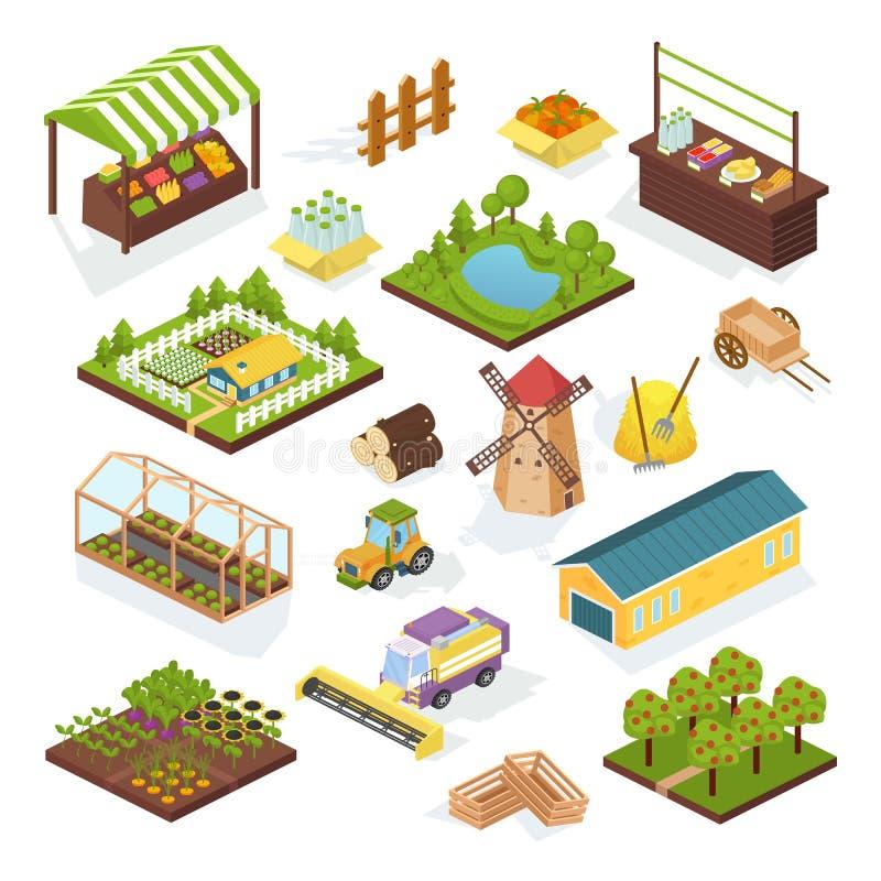 Placez de l'agriculture d'objets, ferme Véhicules isométriques, bâtiments, plantations illustration de vecteur