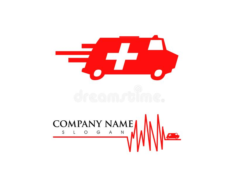 Placez de l'ambulance van vehicle expédiant le logo simple d'icône d'affaires illustration de vecteur