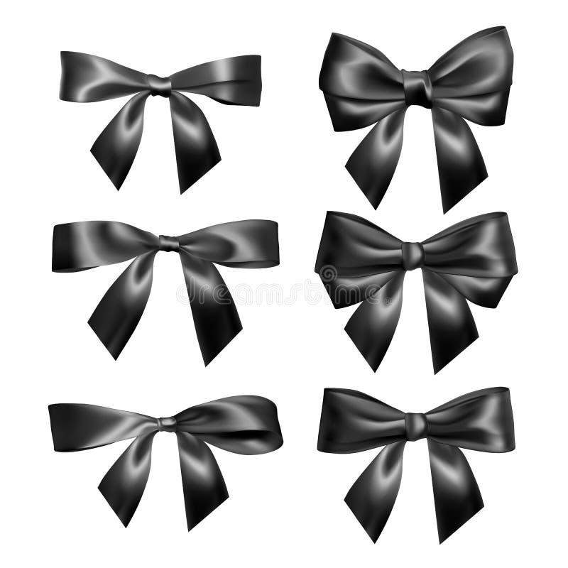 Placez de l'arc noir réaliste Élément pour des cadeaux de décoration, salutations, vacances, conception de jour de valentines Ill illustration stock