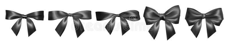 Placez de l'arc noir réaliste Élément pour des cadeaux de décoration, salutations, vacances, conception de jour de valentines Ill illustration libre de droits