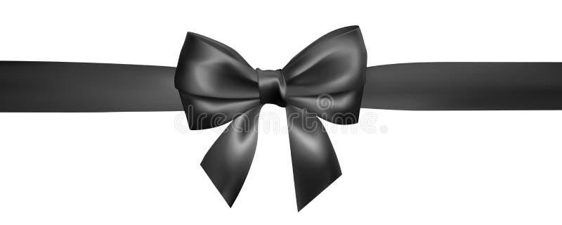 Placez de l'arc noir réaliste avec le ruban noir Élément pour des cadeaux de décoration, salutations, vacances, conception de jou illustration stock