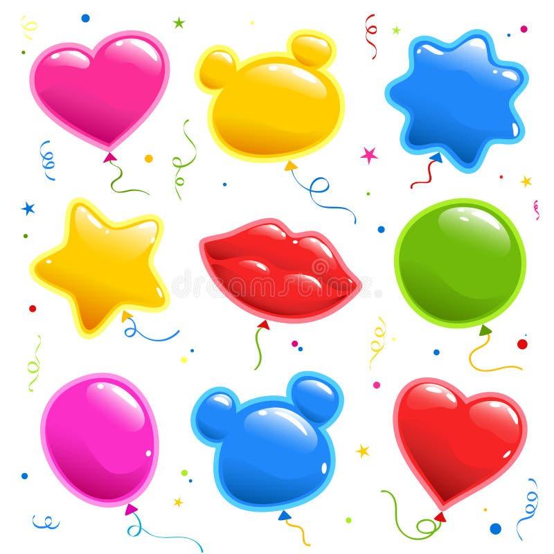 Placez de l'autocollant pour l'anniversaire Ballons pour une partie Collection d'éléments de vecteur illustration libre de droits