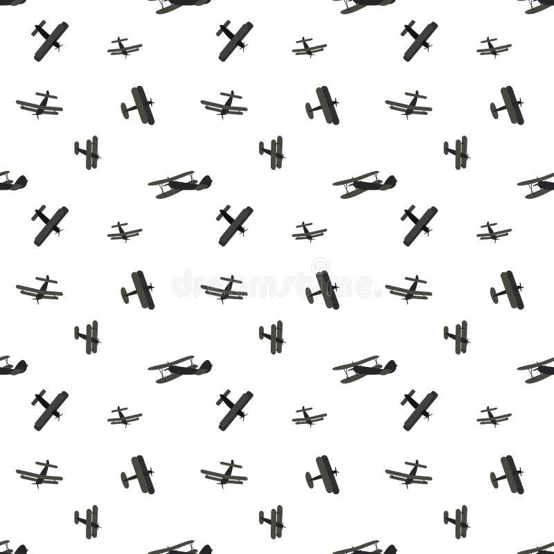 Placez de l'avion mignon de silhouettes de bande dessinée Configuration sans joint Illustration de vecteur illustration libre de droits