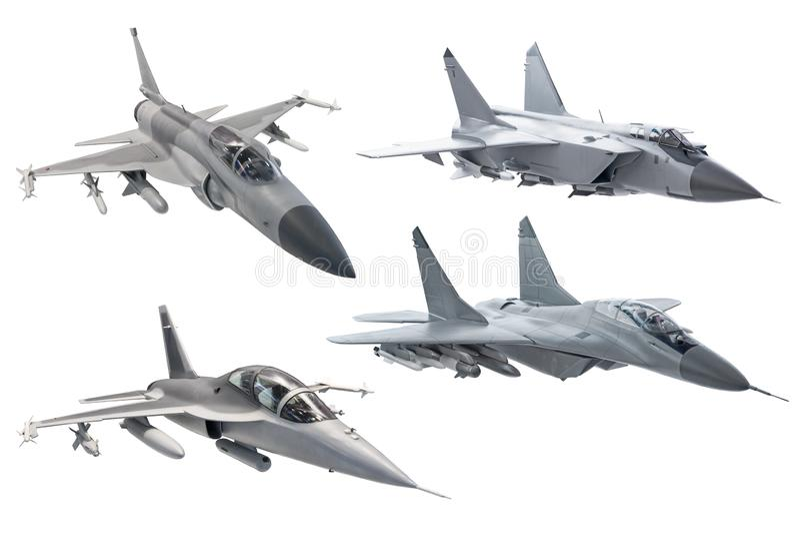 Placez de l'avion militaire d'avion de chasse d'armée de combat d'isolement sur le fond blanc photos stock