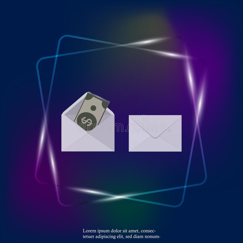 Placez de l'enveloppe deux en blanc avec l'icône de lampe au néon d'argent À plat une icône de calibre d'enveloppe Couches groupé illustration libre de droits