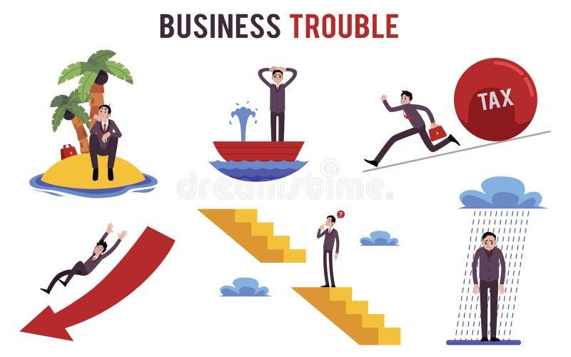 Placez de l'homme d'affaires dans le style différent de bande dessinée de situations de problème illustration de vecteur
