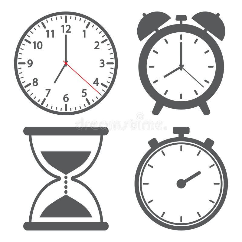 Placez de l'icône différente d'horloge Illustration de vecteur illustration stock