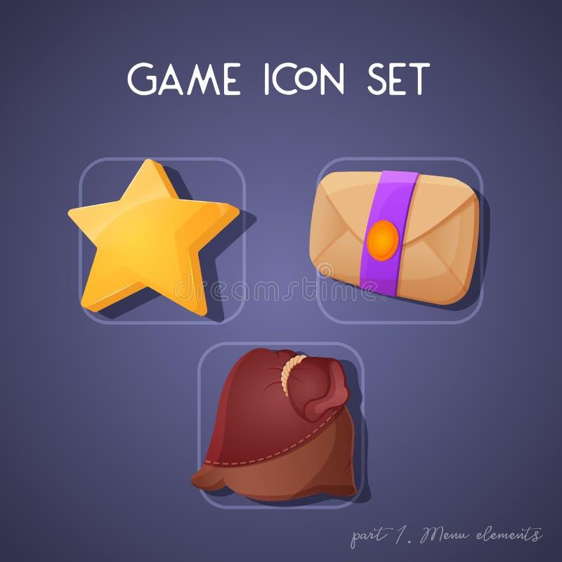 Placez de l'icône de jeu dans le style de bande dessinée Éléments de menu : étoile, lettre et poche Conception lumineuse pour l'i illustration de vecteur