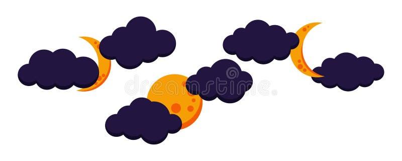 Placez de l'icône nuageuse colorée de nuit de lune : plein, s'affaiblissant, lune croissante illustration libre de droits