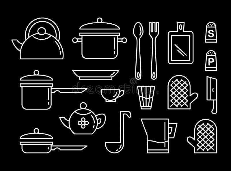 Placez de l'ic?ne lin?aire d'art d'ustensiles de cuisine Collection d'illustrations illustration stock