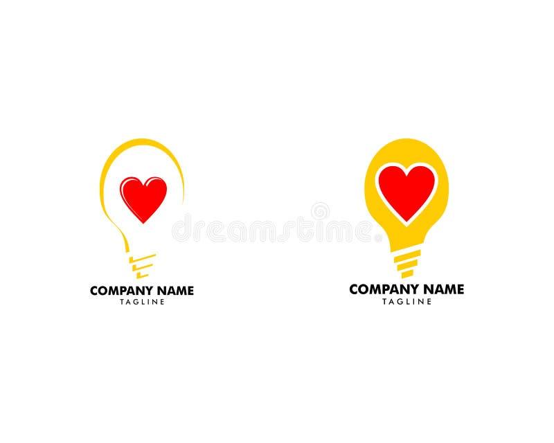 Placez de l'idée créative Logo Template de lampe d'ampoule d'amour illustration stock