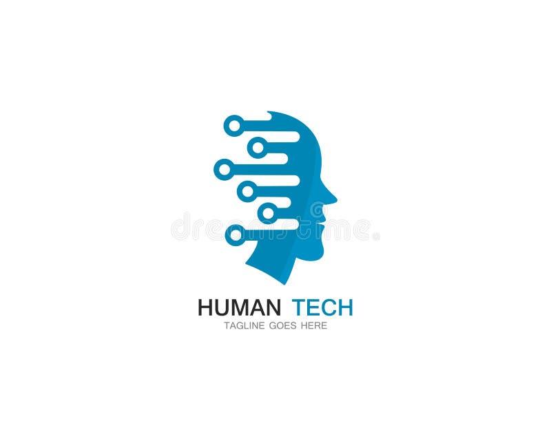 placez de l'illustration humaine d'icône de vecteur de calibre de logo de technologie illustration de vecteur