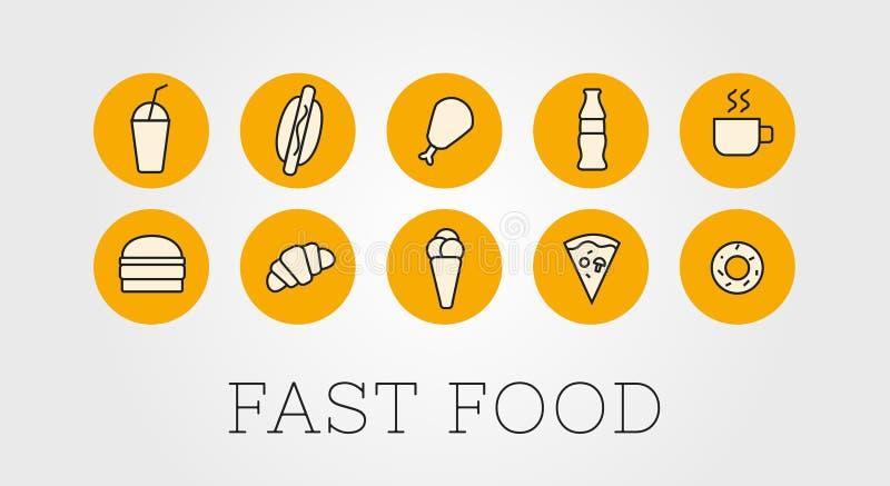 Placez de l'illustration ou des icônes d'ensemble pour un restaurant d'aliments de préparation rapide sur un fond foncé Hamburger illustration libre de droits