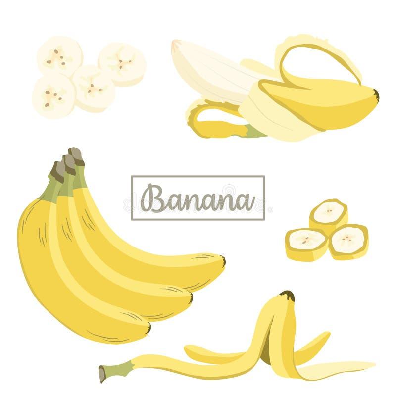 Placez de l'illustration plate de vecteur de banane fraîche illustration de vecteur