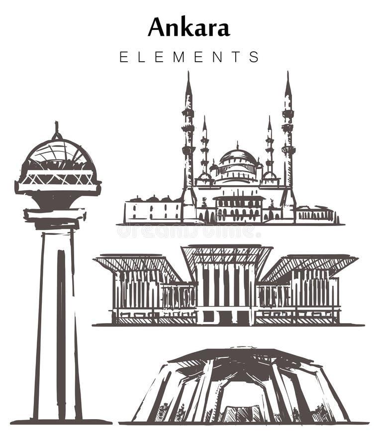 Placez de l'illustration tirée par la main de croquis d'éléments de bâtiments d'Ankara illustration de vecteur