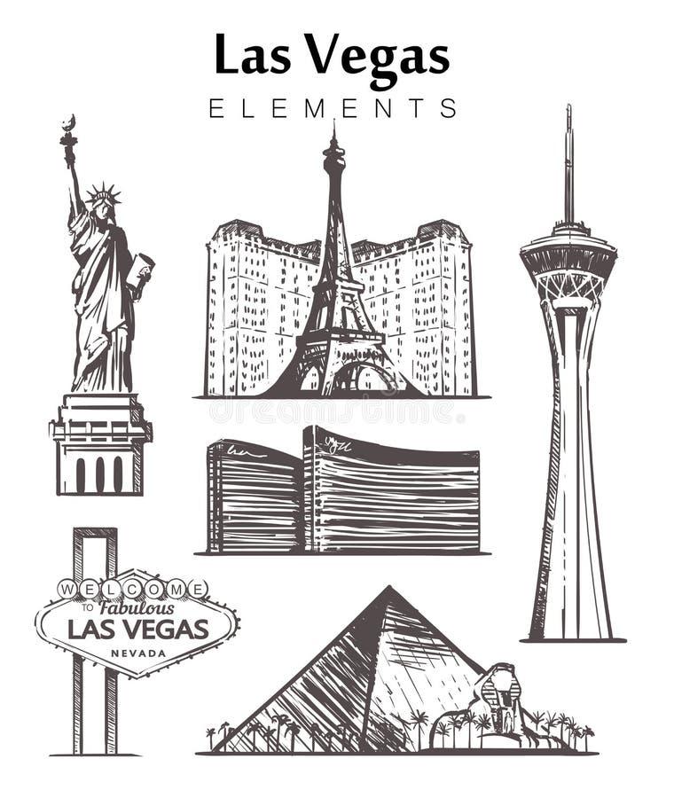 Placez de l'illustration tirée par la main de vecteur de croquis d'éléments de bâtiments de Las Vegas illustration stock