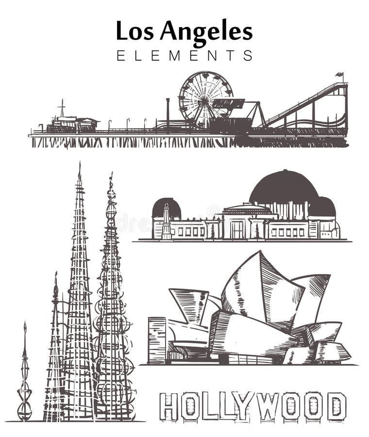 Placez de l'illustration tirée par la main de vecteur de croquis d'éléments de bâtiments de Los Angeles illustration libre de droits