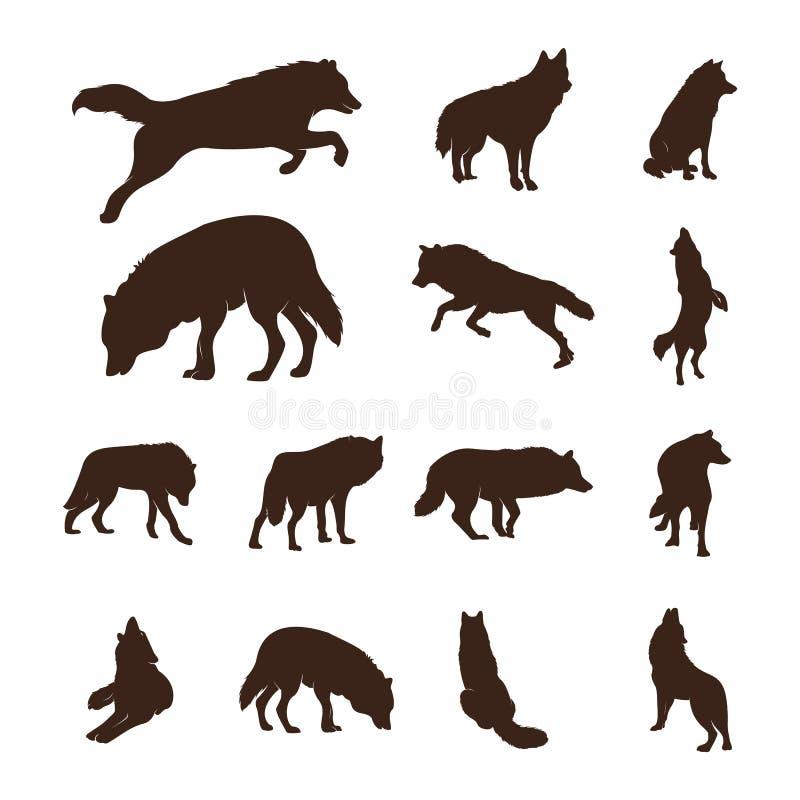 Placez de l'illustration de Wolf Abstract Logo Design Vector Wolf Logo Template Style plat simple Symbole d'ic?ne illustration libre de droits