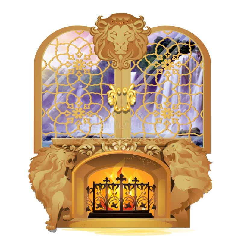 Placez de l'intérieur royal de cru d'isolement sur le fond blanc Cheminée brûlante décorée des figures en pierre des lions illustration libre de droits