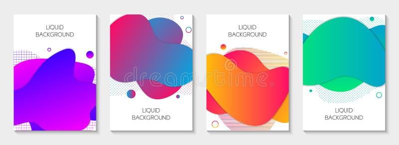 Placez de 4 ?l?ments liquides graphiques modernes abstraits Différentes formes liquides colorées vives dynamiques Banni?res d'iso illustration stock