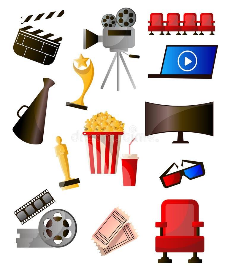 Placez de l'objet moderne différent d'icônes colorées de cinéma illustration libre de droits