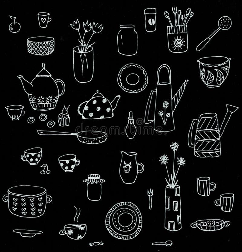 Placez de l'ustensile de cuisine de style de griffonnage pour faire sur cuire au four le tableau noir photo libre de droits