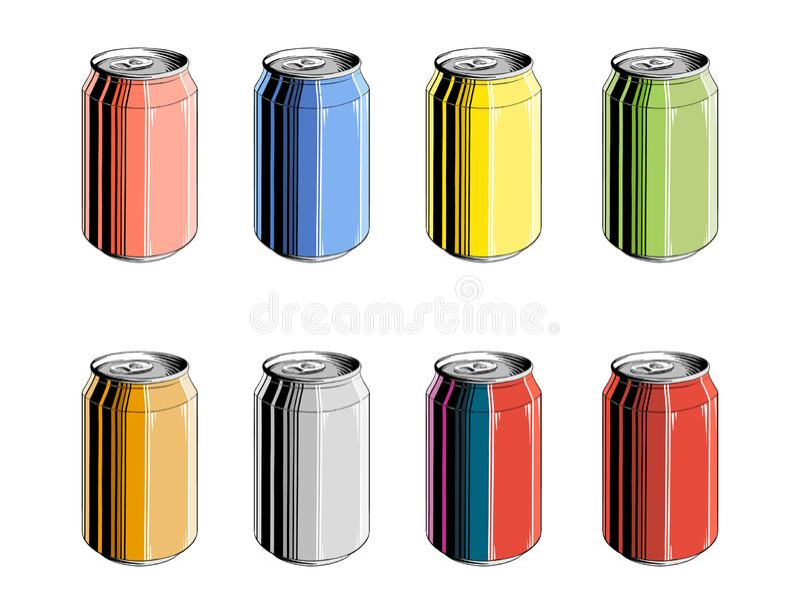 Placez de la boîte en aluminium en couleurs, d'isolement sur le fond blanc Dessin détaillé de style de cru, pour des affiches, dé illustration de vecteur