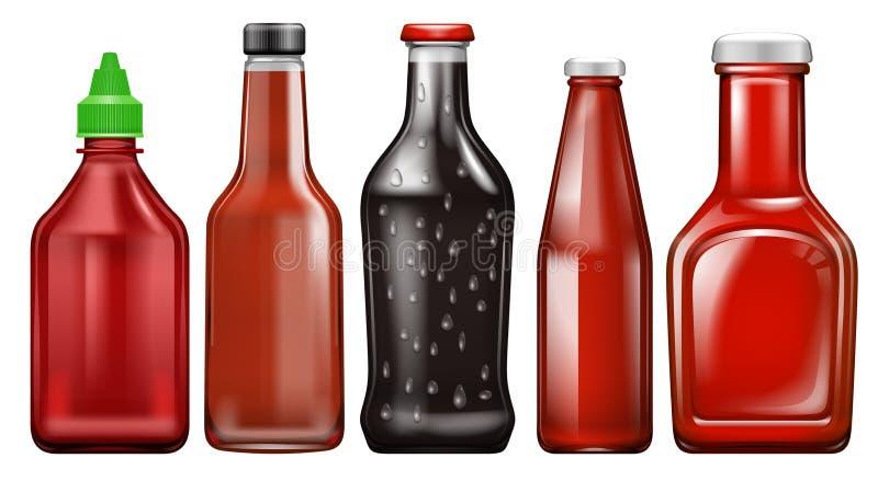 Placez de la bouteille différente de sauce illustration de vecteur