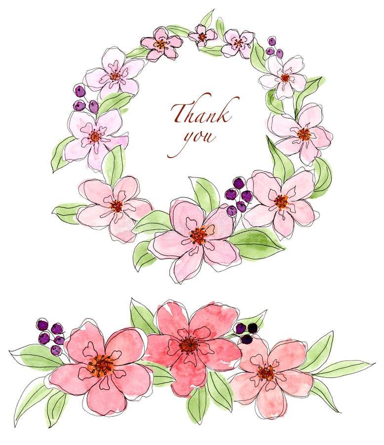 Placez de la branche florale, guirlande, éléments de conception d'aquarelle illustration libre de droits