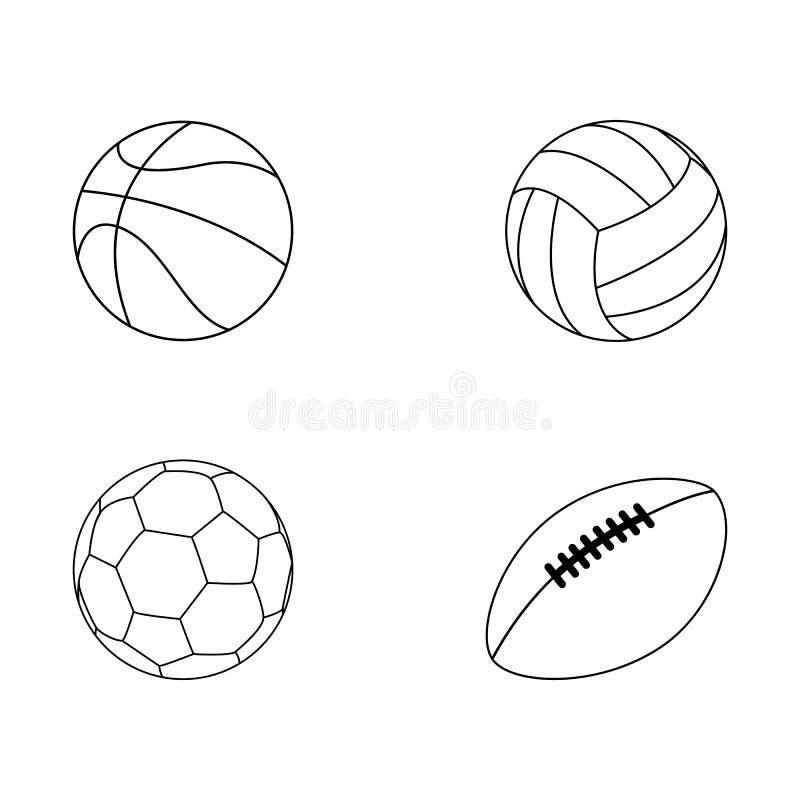 Placez de la collection de vecteur de boule de sport isoated sur le fond blanc illustration de vecteur