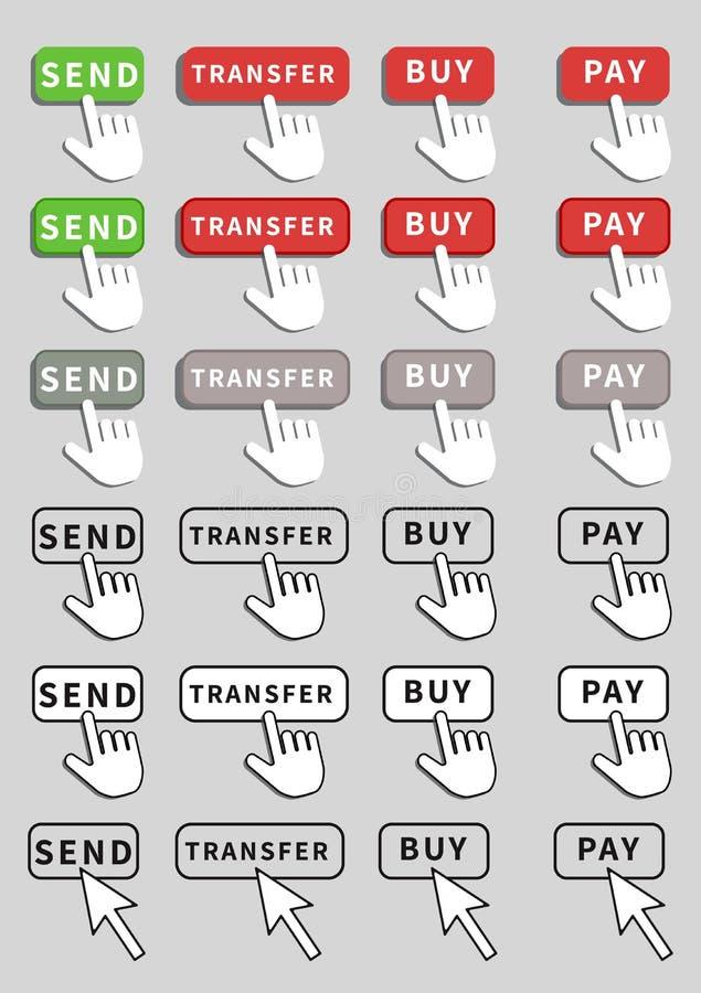 Placez de la conception plate de boutons d'isolement sur le fond blanc Envoyez, achetez, transférer et payer le bouton avec l'ind illustration stock
