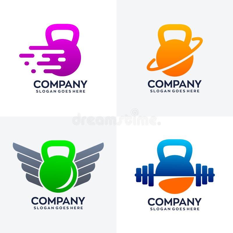 Placez de la conception unique de logo de kettlebell illustration stock