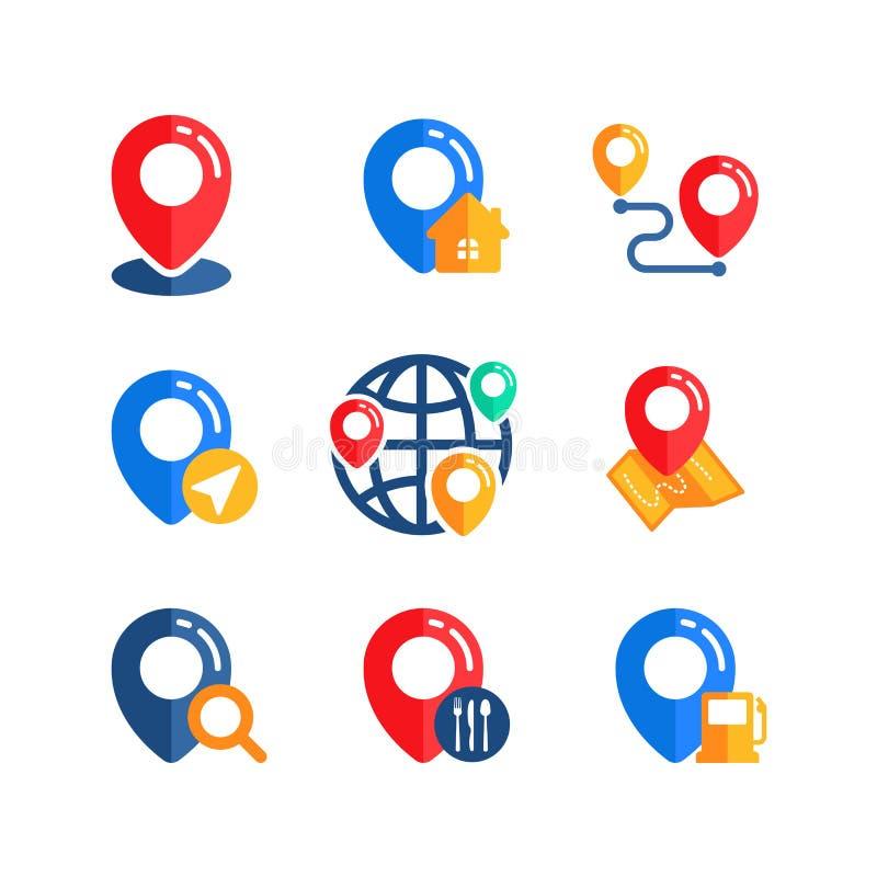 placez de la conception de vecteur de signe d'icône d'emplacement de goupille illustration libre de droits