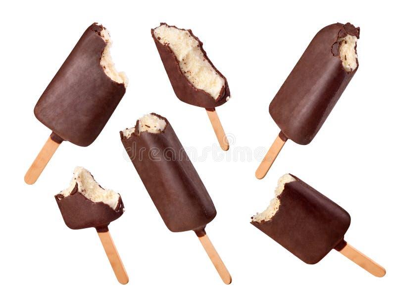 Placez de la crème glacée mordue sur un blanc photos libres de droits