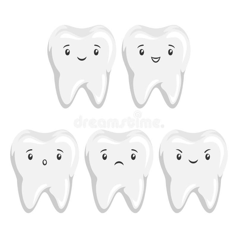 Placez de la dent mignonne avec différentes expressions du visage illustration de vecteur