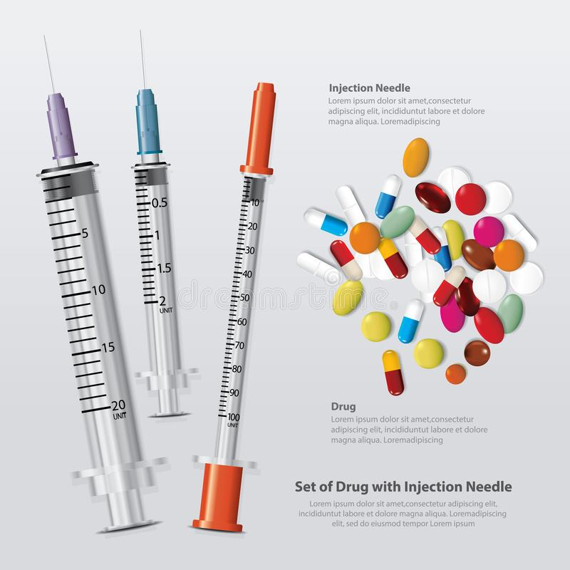 Placez de la drogue avec l'aiguille d'injection r?aliste illustration libre de droits