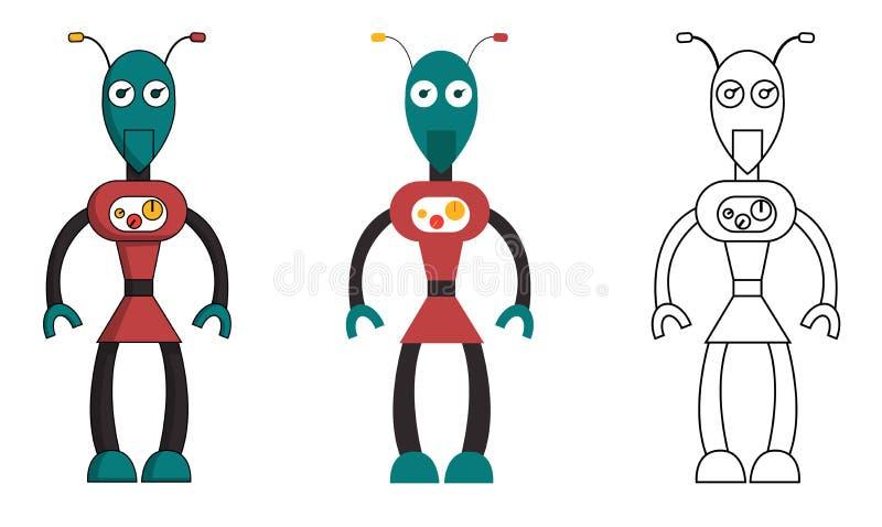 Placez de la fille de robot dans le style différent Illustration courante d'isolement de vecteur illustration de vecteur